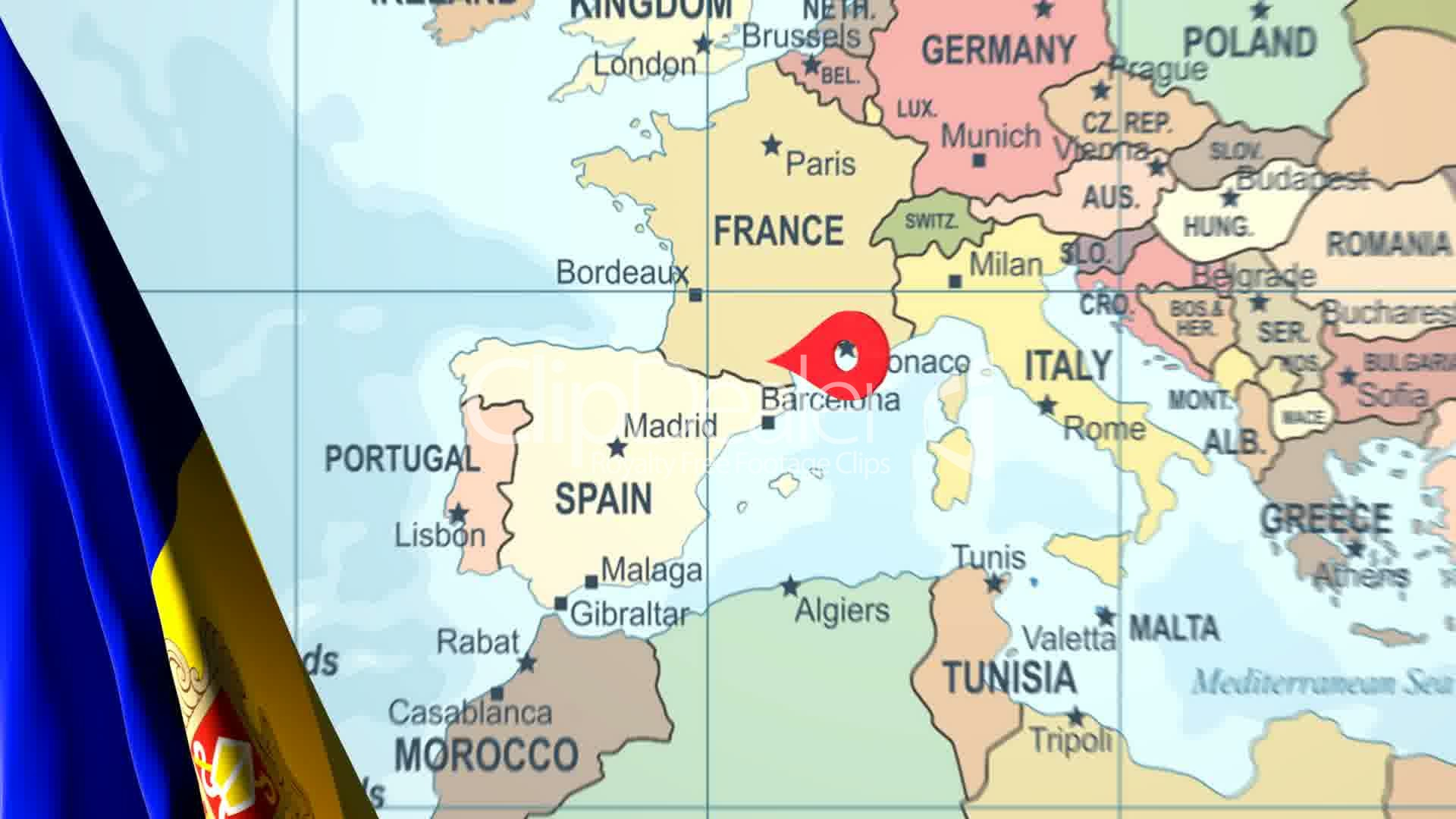Animated Flag Of Andorra With A Pin On A Worldmap Royalty Free