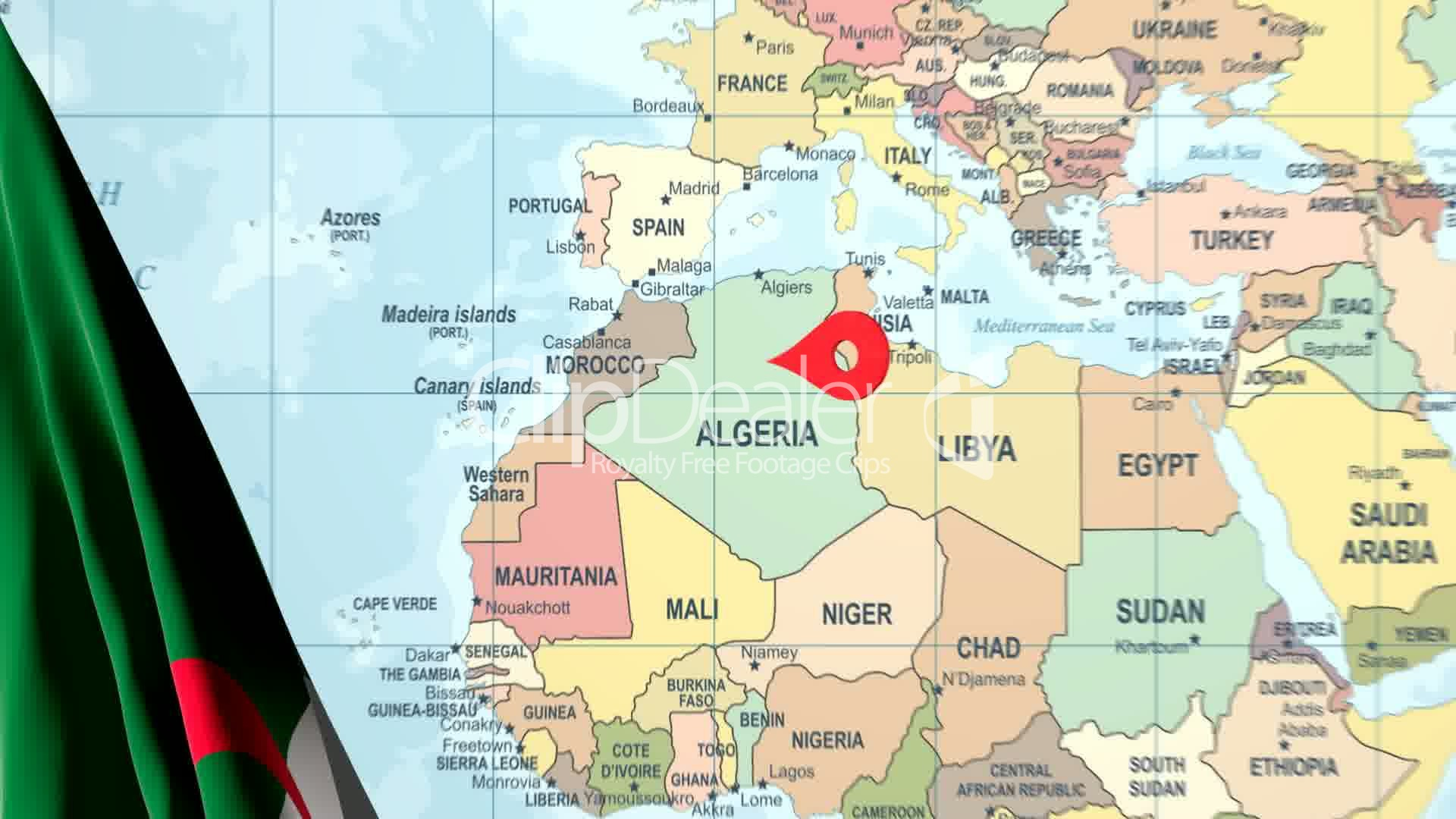 Animated Flag of Algeria with a Pin on a Worldmap: Lizenzfreie Stock ...