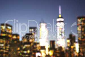 Defocused view of New York City downtown at evening