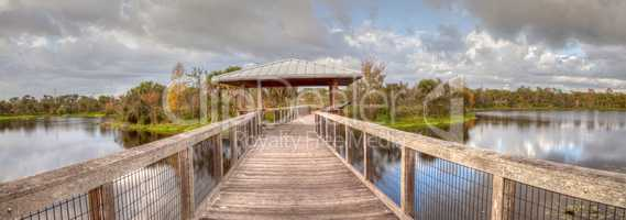 Gazebo on a wooden secluded, tranquil boardwalk