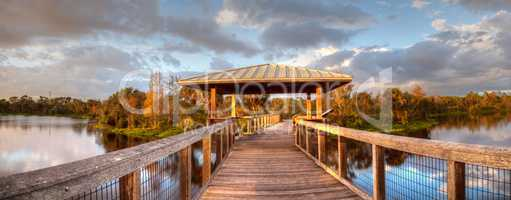 Sunset over Gazebo on a wooden secluded, tranquil boardwalk