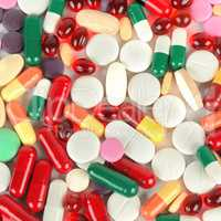 Assorted pharmaceutical medicine pills, tablets and capsules bac