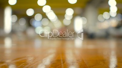 Wood floor with out of focus bokeh blur abstract background