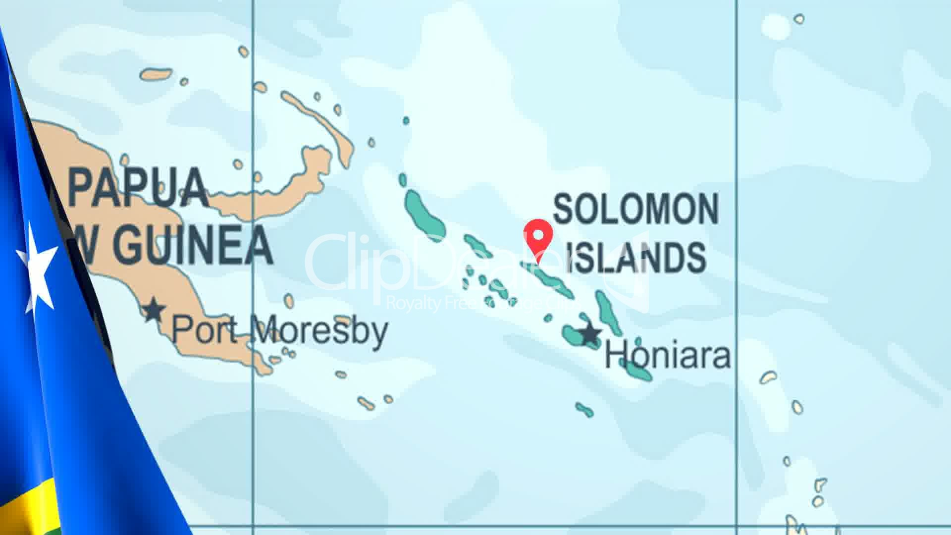 Solomon Islands World Map.Animated Flag Of The Solomon Islands With A Pin On A Worldmap