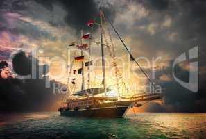 Sailing ship in sea