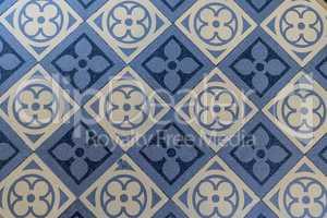 blue and beige floor tiles