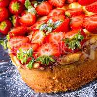 American strawberry cheesecake with mascarpone and cream cheese
