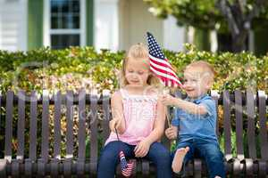 Young Sister and Brother Comparing Each Others American Flag Siz