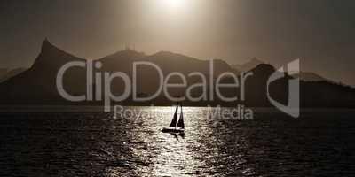 Sailing boat backlit in Rio de Janeiro