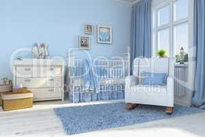 3d render of a children's room - boy - baby