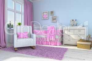 3d render of a children's room - girl - baby