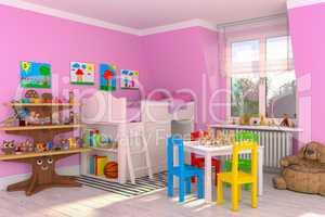 3d render of a children's room - girl