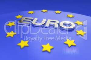 3d render - metal euro text