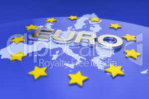3d render - metal euro text and europe map