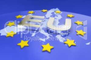3d render - metal eu text and europe map