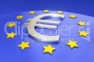 3d render - metal euro sign