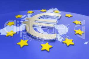 3d render - metal euro sign and europe map