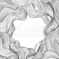Hair outline background. Wavy hair frame. Beauty salon design