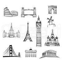 World famous city landmark sign. Travel location icon set