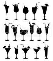 Cocktail silhouettes sign. Cocktail drink glass set.