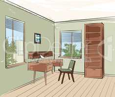 Home interior work palce furniture with chair, armchair, table,
