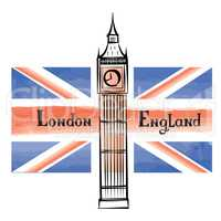 UK flag, London city famous landmark. Travel GB sign