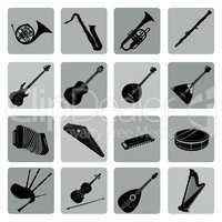 Musical instruments icon set. Folk music signs