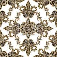 Oriental floral seamless pattern. Flower geometric ornament