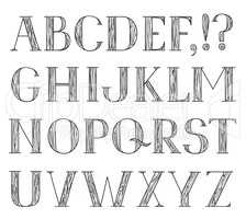 Latin alphabet. Grunge line font. Hipsters character