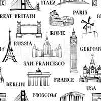 Travel seamless pattern. Vacation background. World attraction