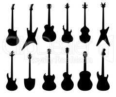 Musical instruments set. Rock music guitar sign