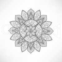 Floral outline oriental decor. Mandala flower isolated sign.