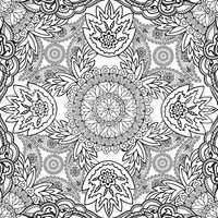 Floral oriental line ornament Mandala semless pattern