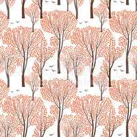 Fall nature seamless pattern Autumn trees. Forest background