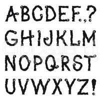Latin alphabet. Grunge line decorative font. Characters set