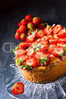 American strawberry cheesecake with mascarpone and cream cheese
