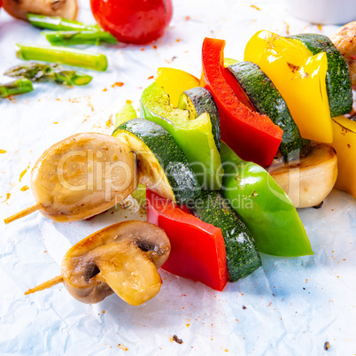 vegetarian skewers white mushrooms, peppers and zucchini for bar