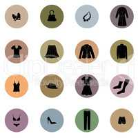 Cloths icon set. Fashion sign. Female wardrobe silhouette