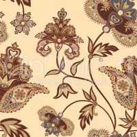 Flourish seamless pattern. Floral background. Wonderland flowers