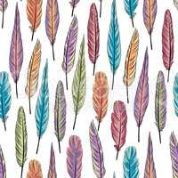 Feather seamless pattern. Birds feathers over white background