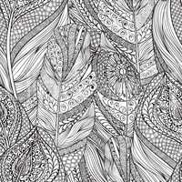Abstract line seamless pattern Ornamental ethnic feather texture