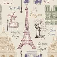 Travel Paris city seamless pattern. Europe famous place background