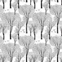 Nature seamless pattern. Forest background. Trees, birds wallpaper