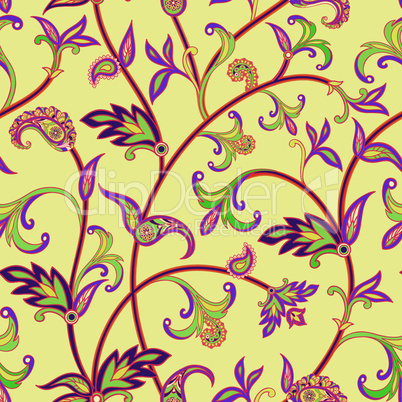Flourish seamless pattern. Floral background. Wonderland flowers