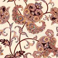 Floral seamless background. Oriental ornament. Flower pattern.