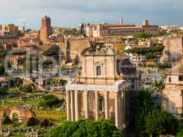 view on the Roman Forums from the Palatine Hill, ancient Rome Italy
