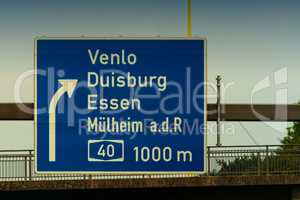 Directional sign on the motorway A 3