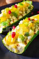 grilled zucchini stuffed with sheep's cheese and paprika.