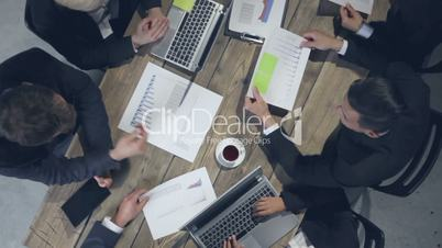 Business people analyzing documents