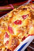 a tasty strawberry rhubarb yeast cake